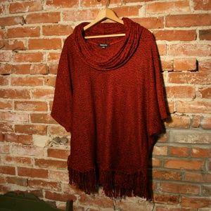 Relativity Plus Cowl Neck Poncho Knit Sweater